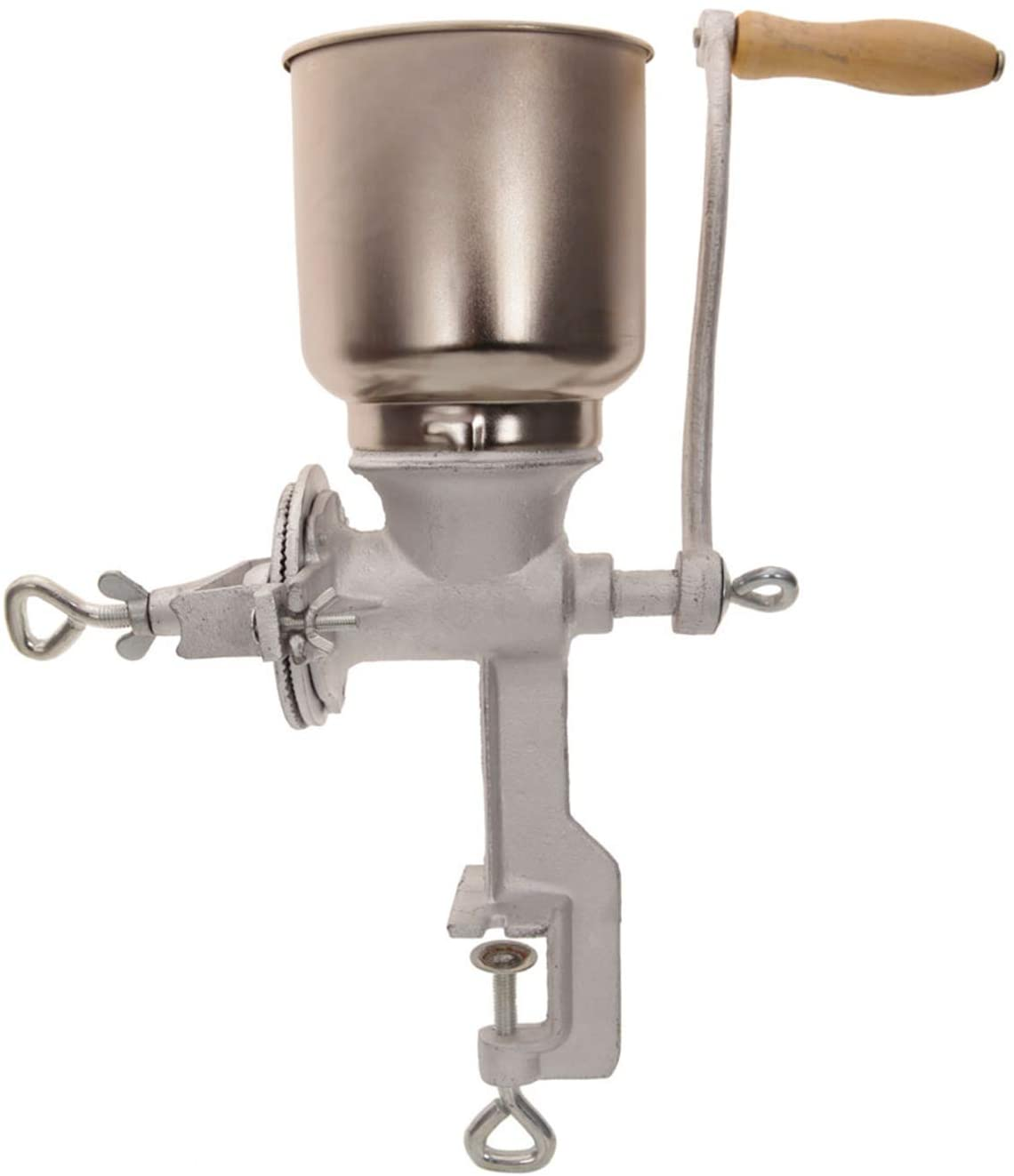 Home Use Hand Cranking Operation Grain Grinder Silver Manual Coffee Grinder, Corn Mill, Seed Grinder