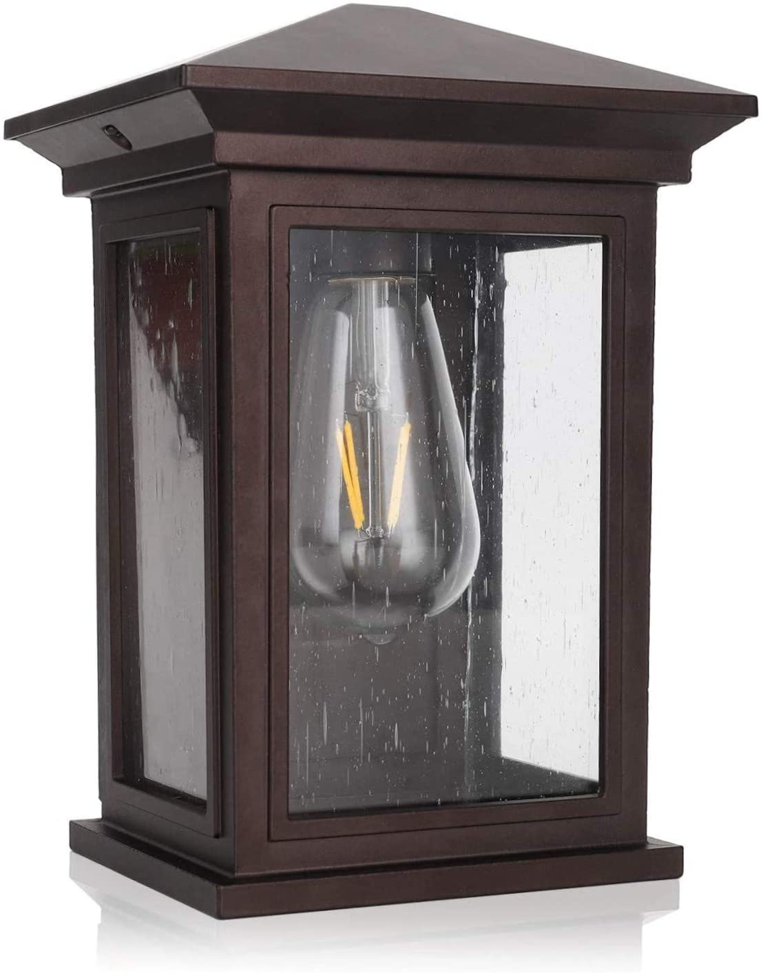 Outdoor Wall Lantern, Jetima Wall Sconce in Oil Rubbed Bronze (ORB) Finish with Clear Seeded Glass, Architectural Wall Sconce Shade for Entryway, Porch, Doorway