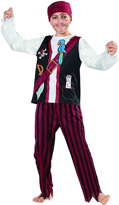 Red Black Boys Pirate Halloween Party Costume - Medium