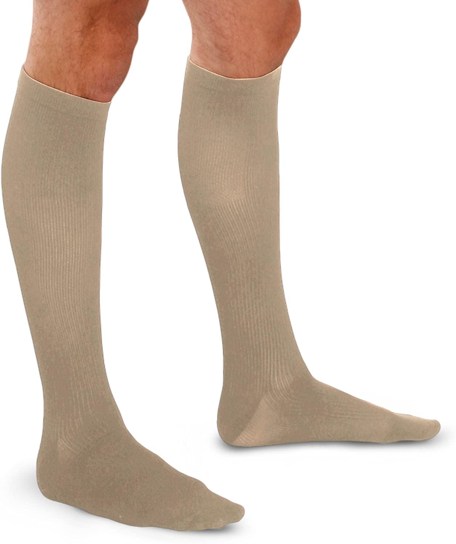 Therafirm Men's Trouser Socks - 20-30mmHg Moderate Compression Dress Socks (Khaki, Large)