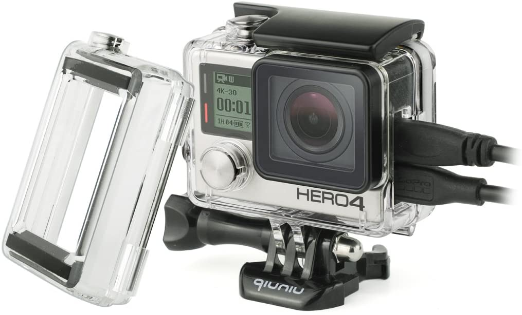 Side Open Protective Skeleton Housing Case with LCD Touch Backdoor and BacPac Backdoor for Extended LCD Screen or Expansion Battery - Compatible with GoPro Hero 4, 3, and 3+ - Transparent Clear