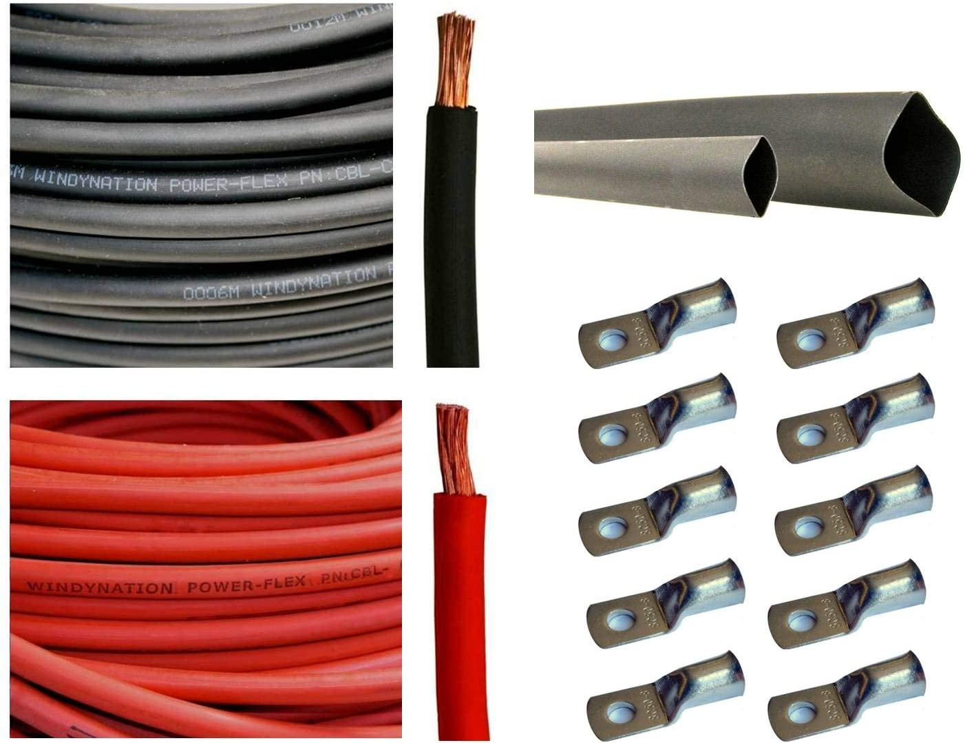 WNI 4 AWG 4 Gauge 5 Feet Black + 5 Feet Red Battery Welding Pure Copper Ultra Flexible Cable + 5pcs of 5/16