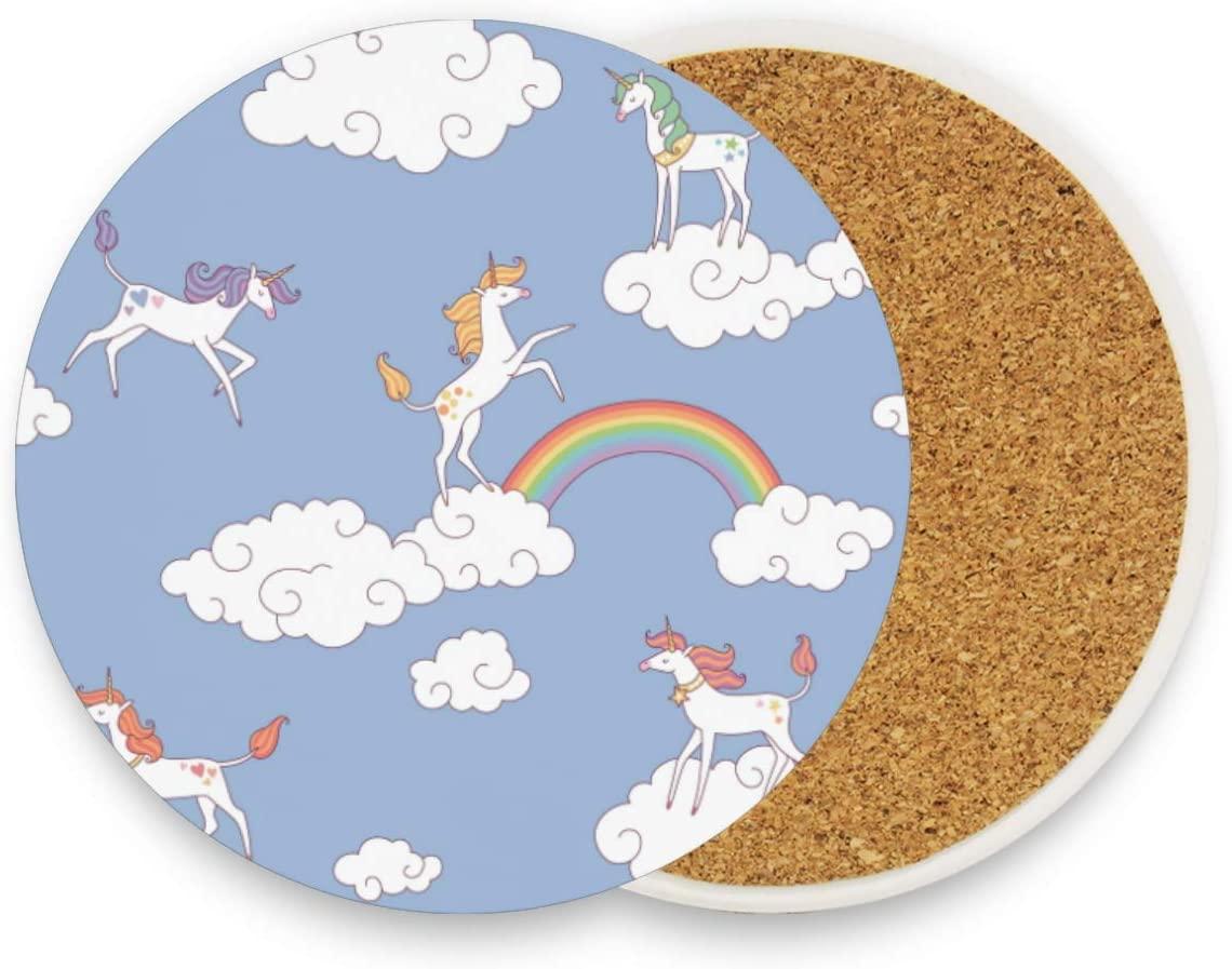 Rainbow Horses Clouds Round Coaster Set Table Coasters