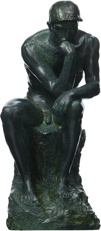 Design Toscano QL0197710 Rodins Thinker Man Statue, Medium, 10 Inch, Polyresin, Bronze Verdigris Finish