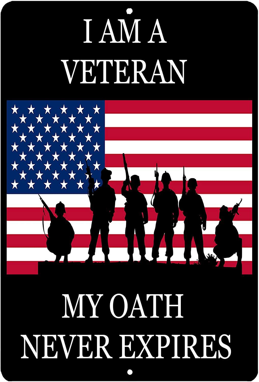Rogue River Tactical USA Flag Veteran Oath Metal Tin Sign Wall Decor Man Cave Bar Military