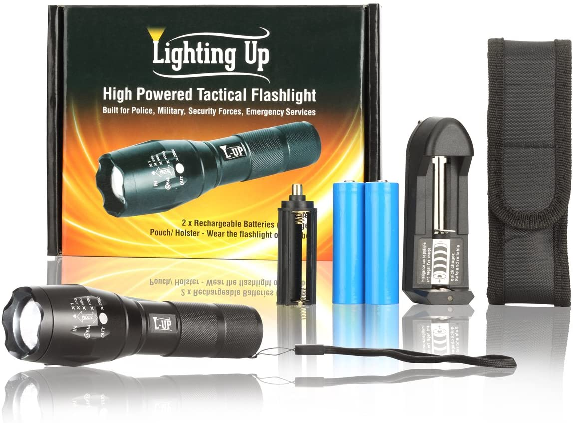 Lighting Up 18650 Flashlight Tactical Flashlight with Holster Rechargeable Batteries + Spare - Adjustable Zoom and Focus - Includes Carry Pouch for Belt - Lamparas Recargables LED T6 Flashlights