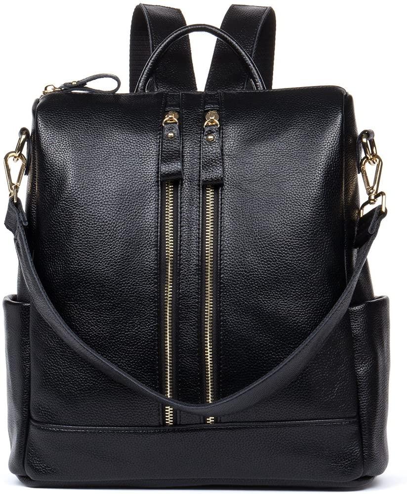 HMILY Leather Multi-Functional Backpacks Women Purse Casual Satchel Shoulder Bag Black