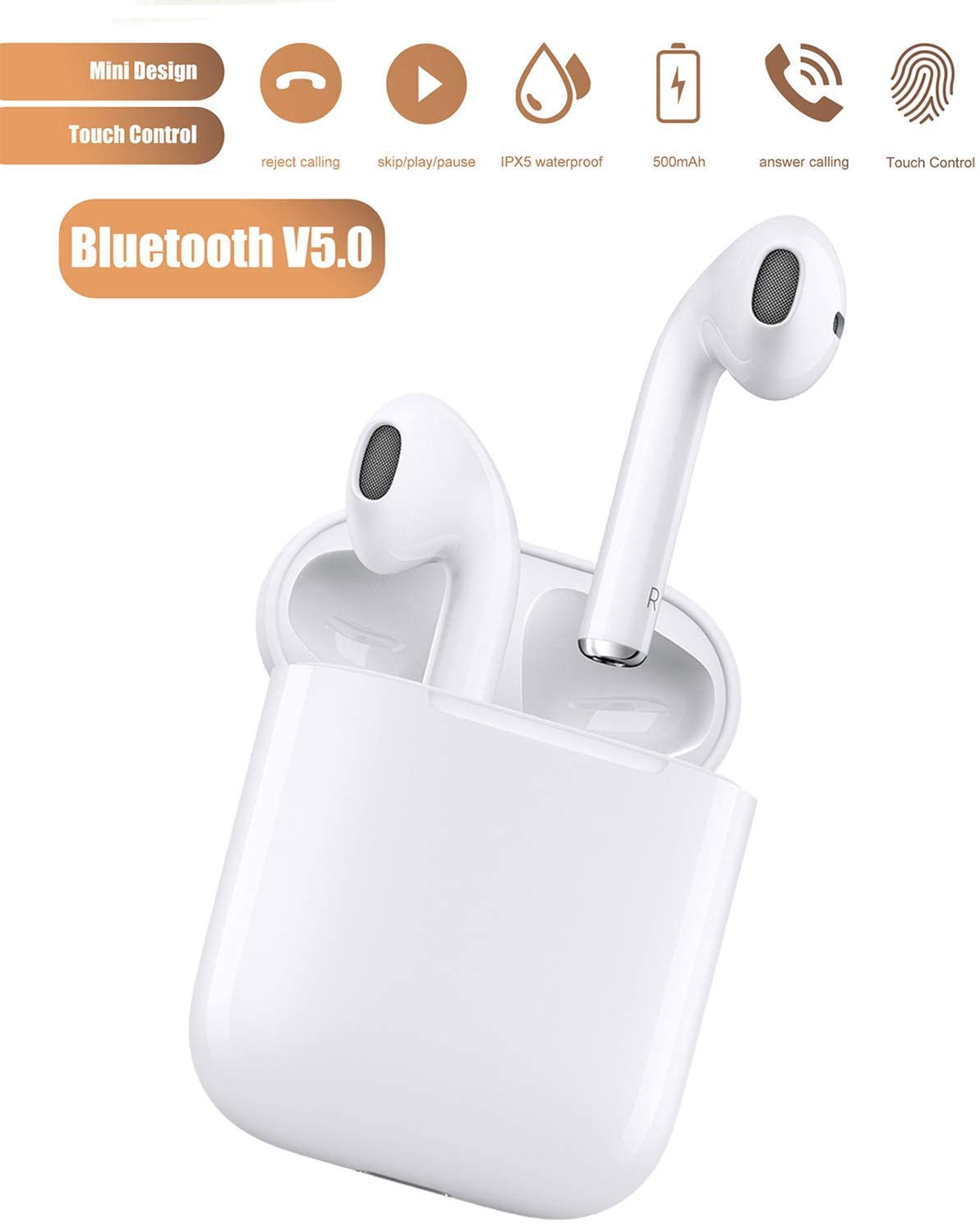 Wireless Earbuds Bluetooth 5.0 Headsets with 【24Hrs Charging Case】 IPX5 Waterproof 3D Stereo Headphones Pop-ups Auto Pairing Fast Charging Earphones for Android iPhone Samsung