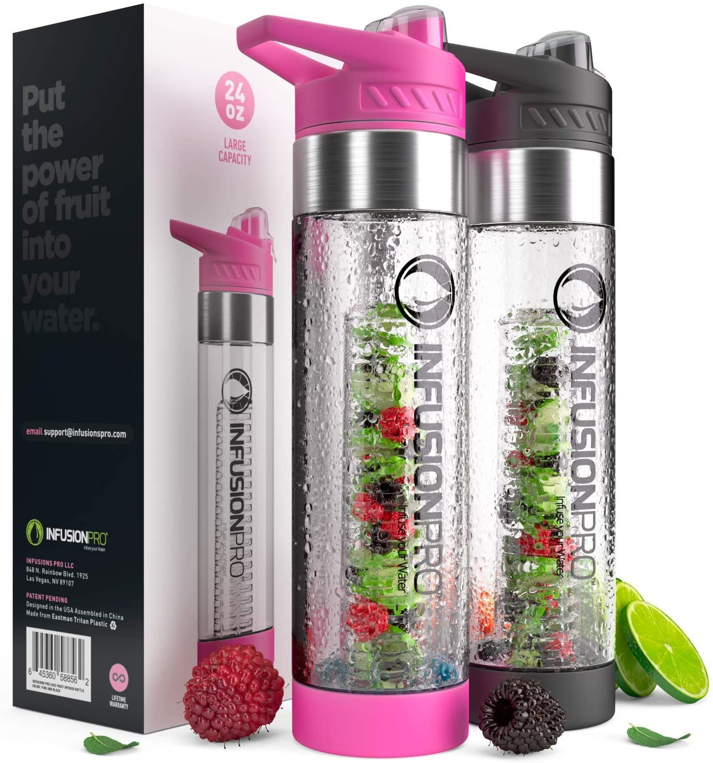 Insulated Infusion Water Bottle with Neoprene Sleeve