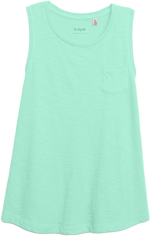 KIDPIK Joy Swing Tank Top for Girls – 100% Cotton Garment Dyed Sleeveless Vest for Spring & Summer
