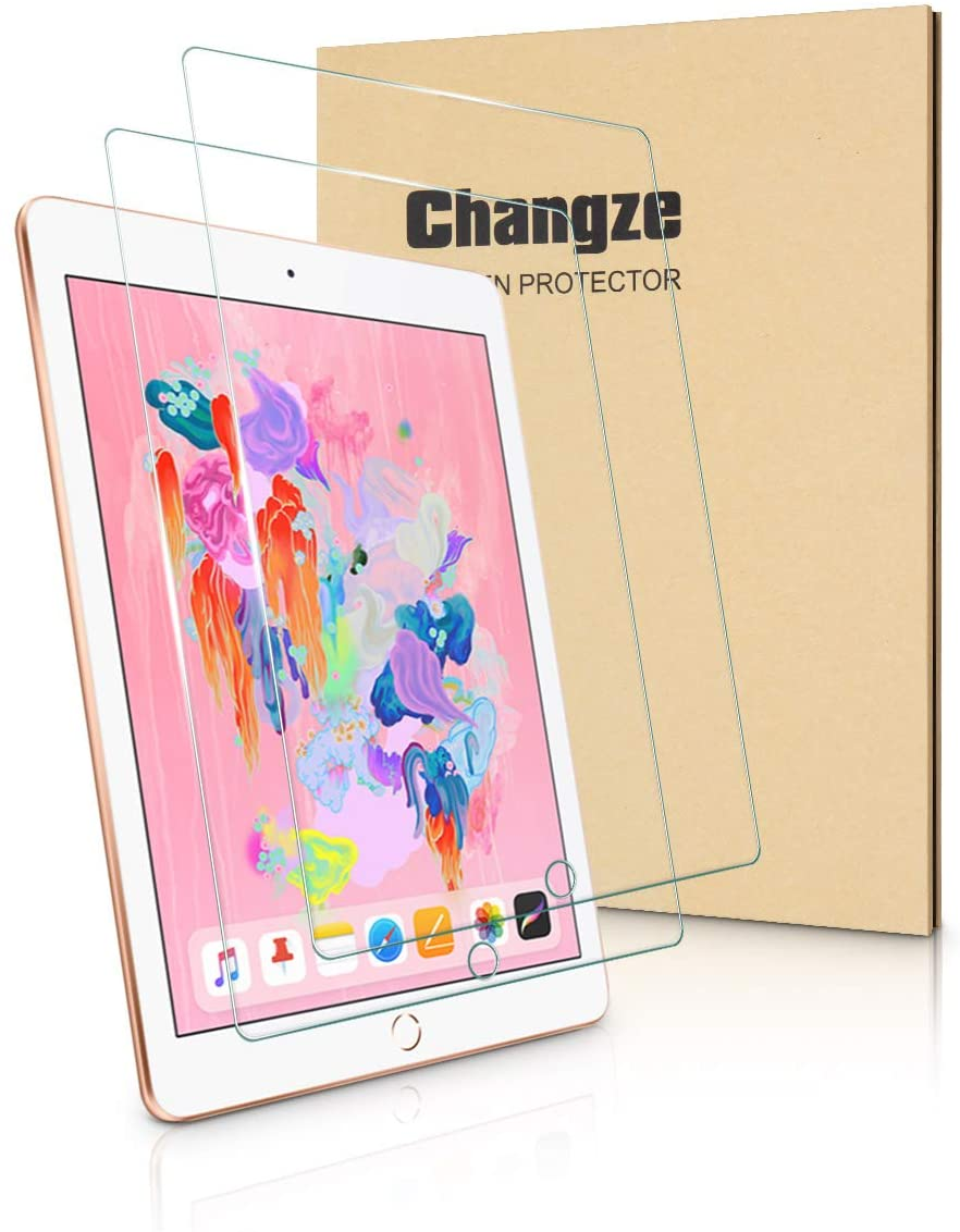 Changze Screen Protector for New Ipad 9.7Inch(2018 and 2017),Ipad Pro 9.7 Inch,Ipad Air 2 9.7Inch and Ipad Air 9.7Inch,Resist Scratch and Fingerprint Tempered Glass Film,Pack of 2