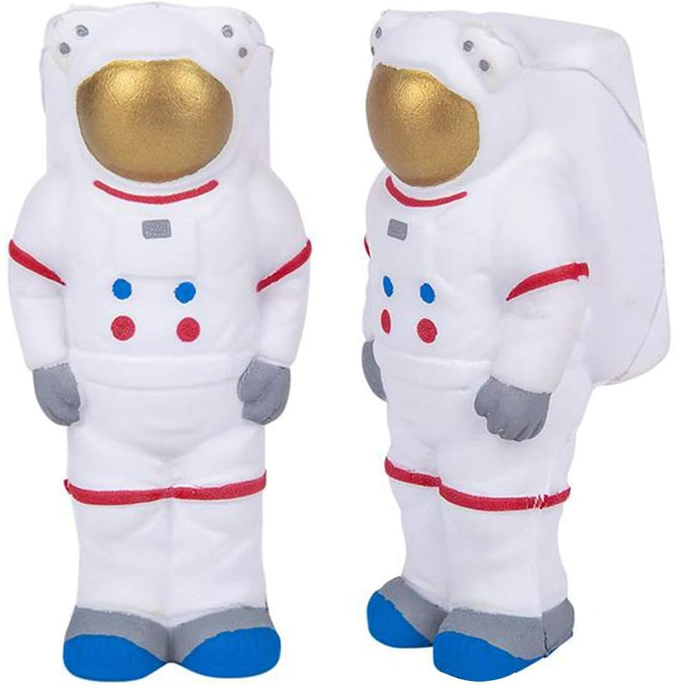 ArtCreativity Squeezy Astronauts, Set of 2, Slow Rising Squeezy Space Themed Stress Relief Toys for Kids, 4.5 Inch Squeezable Outer Space NASA Party Favors and Desk Decorations