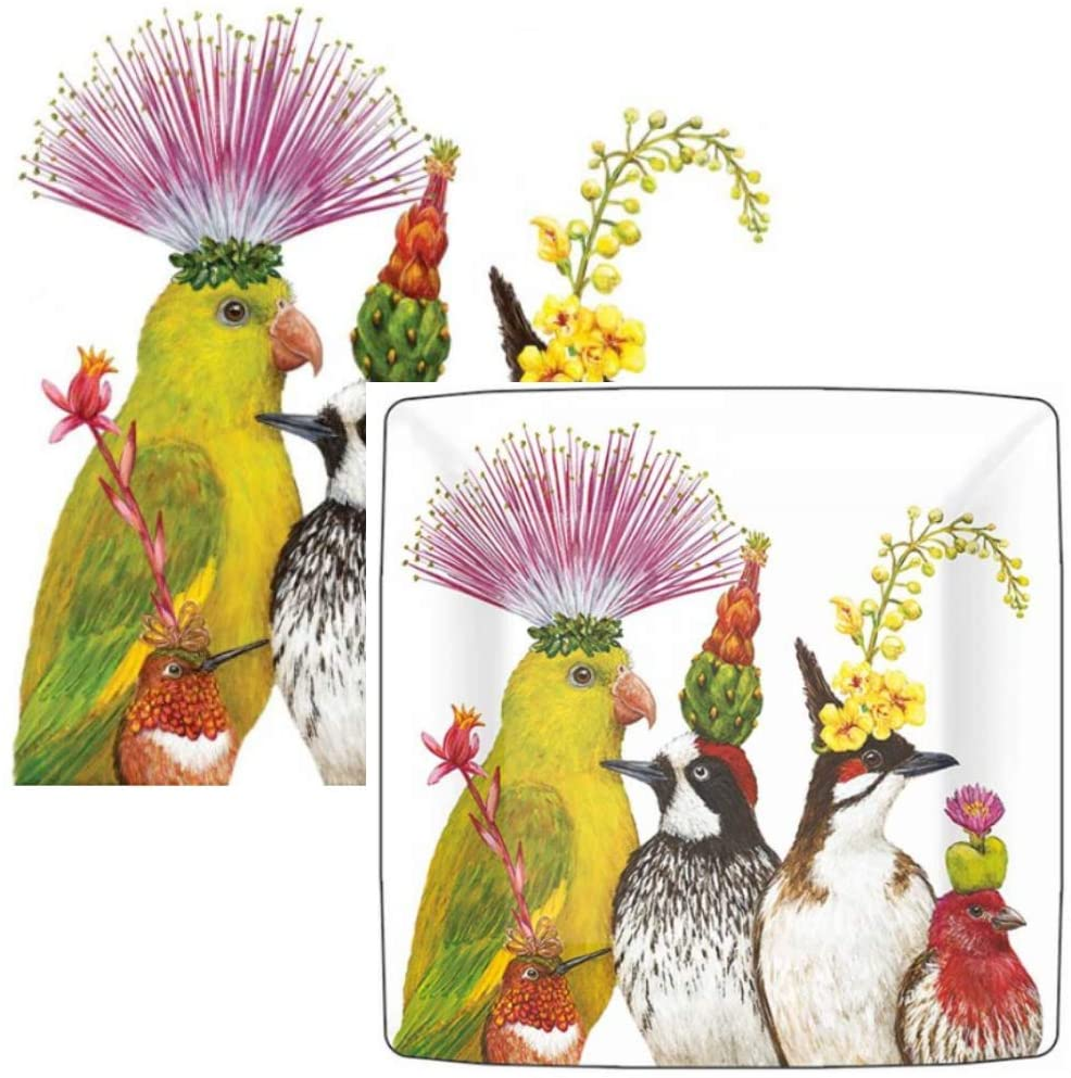 Vicki Sawyer Plates and Napkins Set Entourage Disposable Dessert Appetizer Pack 16 Plates 20 Cocktail Napkins Birds