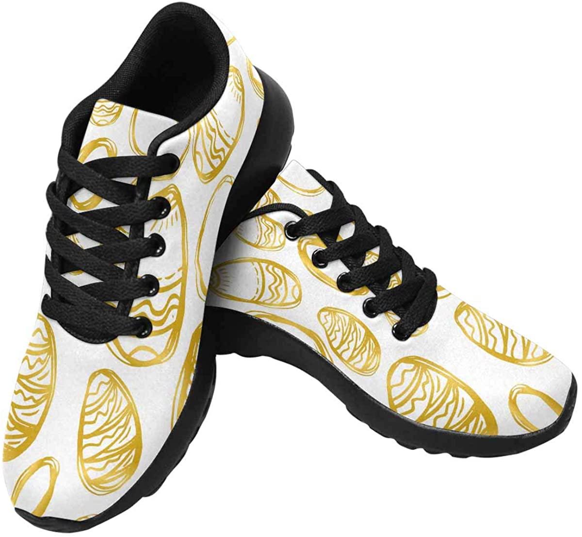 INTERESTPRINT Golden Easter Eggs and Specks Womens Jogging Sneakers Outdoor Sport Cross Training Shoes