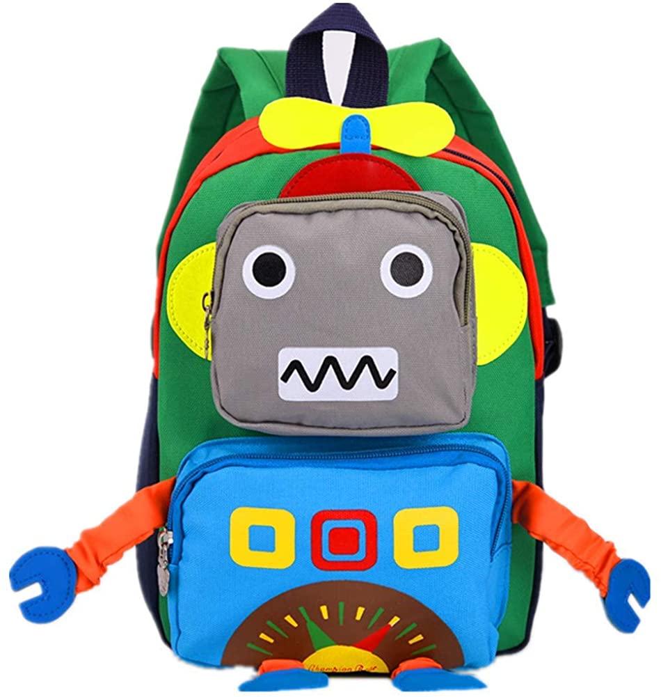 Aom Kids Toddler Cute Robot Prescool backpack cartoon travel bag for baby girls boys
