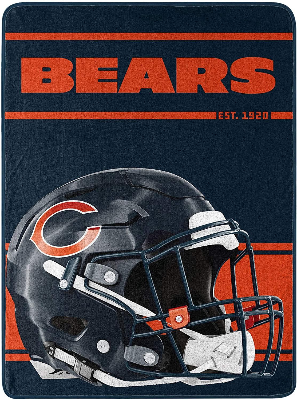 Northwest NFL Chicago Bears 46x60 Micro Raschel Run Design RolledBlanket, Team Colors, One Size