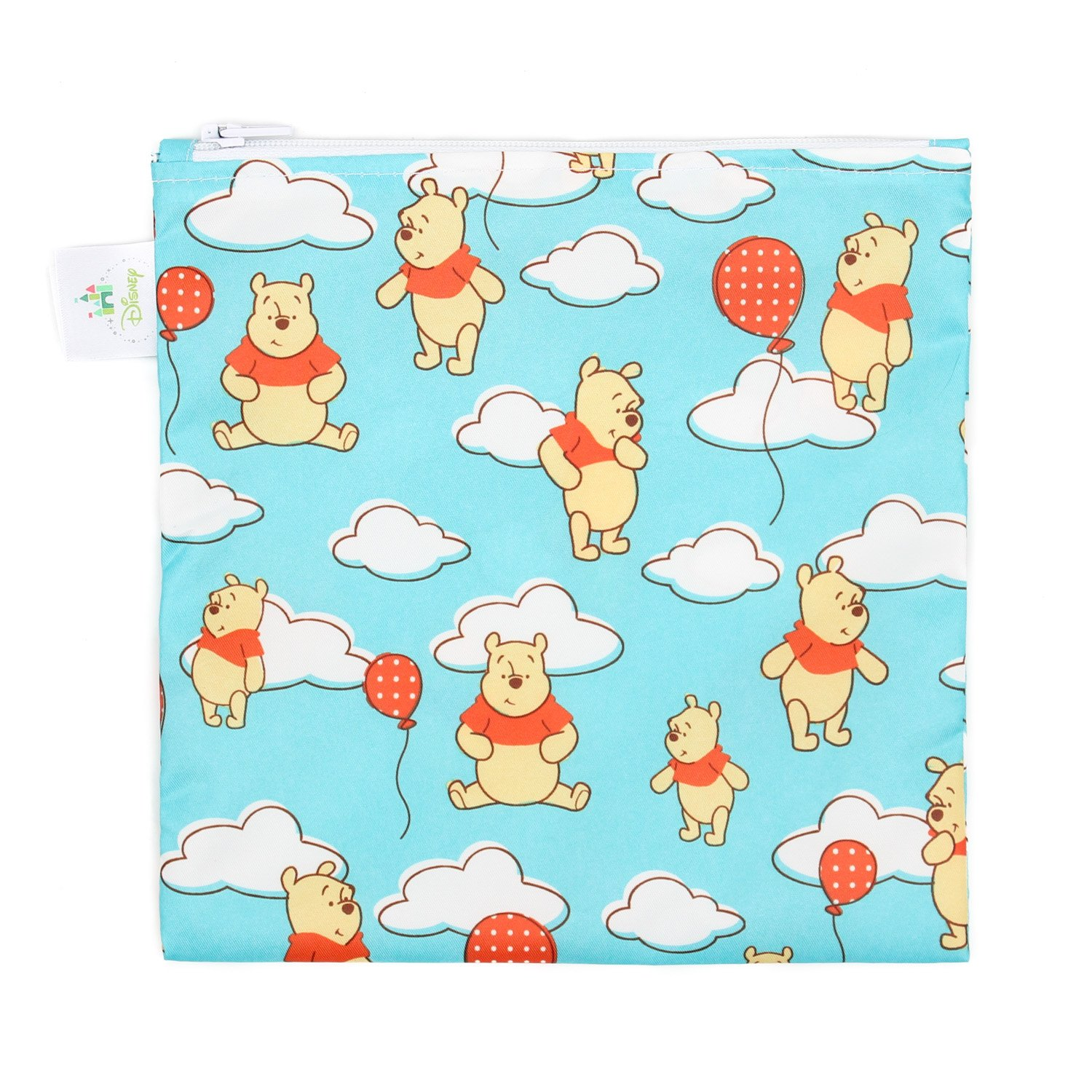Bumkins Disney Winnie The Pooh Sandwich Bag / Snack Bag, Reusable, Washable, Food Safe, BPA Free, 7x7 , Pack of 1