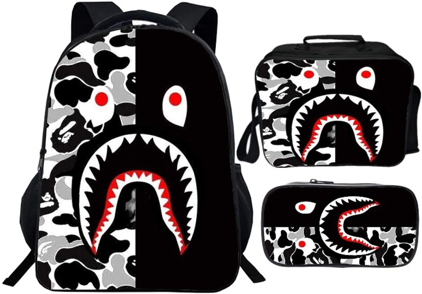 Ba-Pe Backpack 16inch Bookbag Schoolbag And Lunch Box Pencil Case Set For Boys Girls