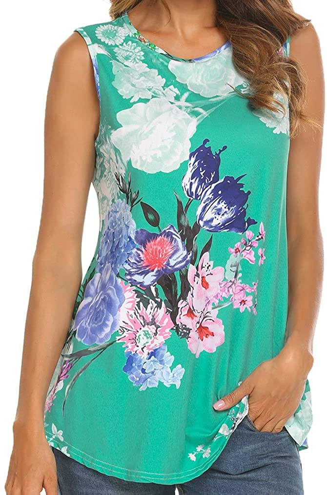 Tobrief Women Sleeveless Floral Print Swing Tunic Tank Tops