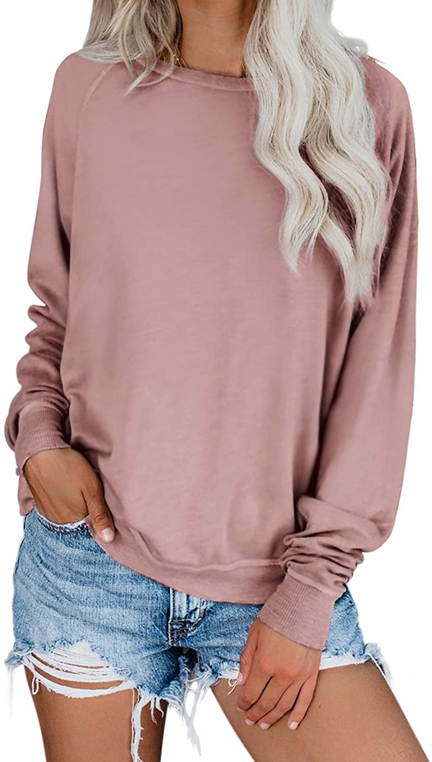 Dokotoo Womens Simple Crewneck Long Sleeve Casual Solid & Tie Dye Thin Pullover Sweatshirts Tops Shirts