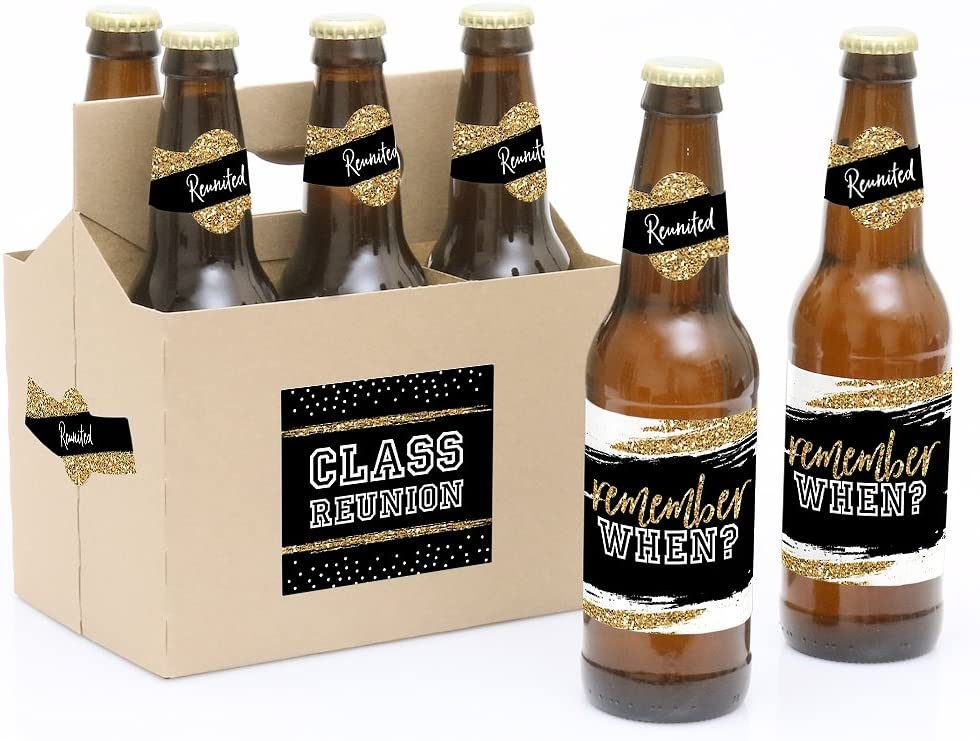 Reunited - School Class Reunion Party Decorations for Women and Men - 6 Beer Bottle Label Stickers and 1 Carrier