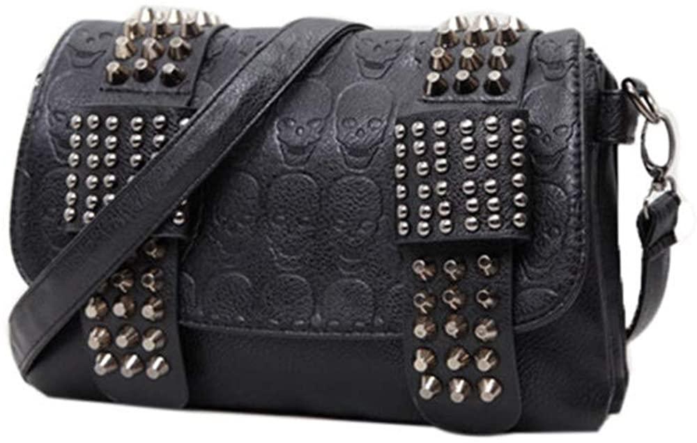 Women Goth Skull Shoulder Crossbody Bag, Punk Leather Chain Handbag Satchel Purse