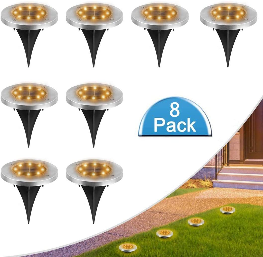 MOAOO Solar Ground Lights, Bright 8 LED Disk Lights Outdoor Waterproof Solar Garden Lights In-Ground Lights for Patio Yard Pathway Lawn Driveway Walkway (Warm White, 8 Pack)