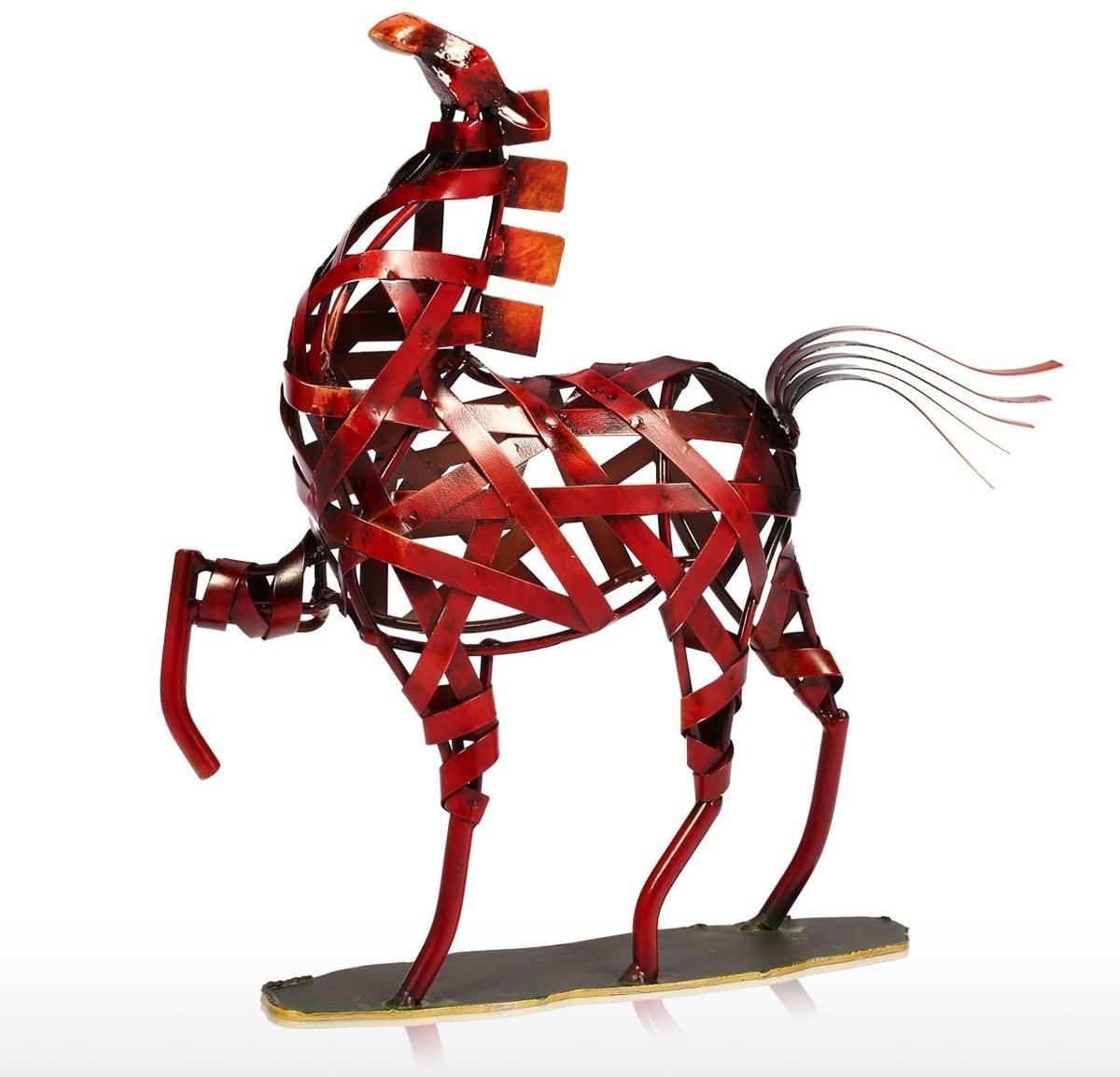 Tooarts Metal Weaving Horse Modern Sculpture Home Decoration Furnishing Handicrafts
