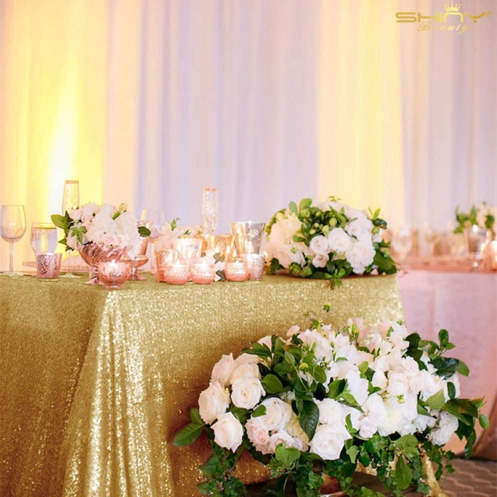 Gold Light Tablecloth 70x70-Inch Champagne Gold Table Cloths for Parties Sequin Table Cover