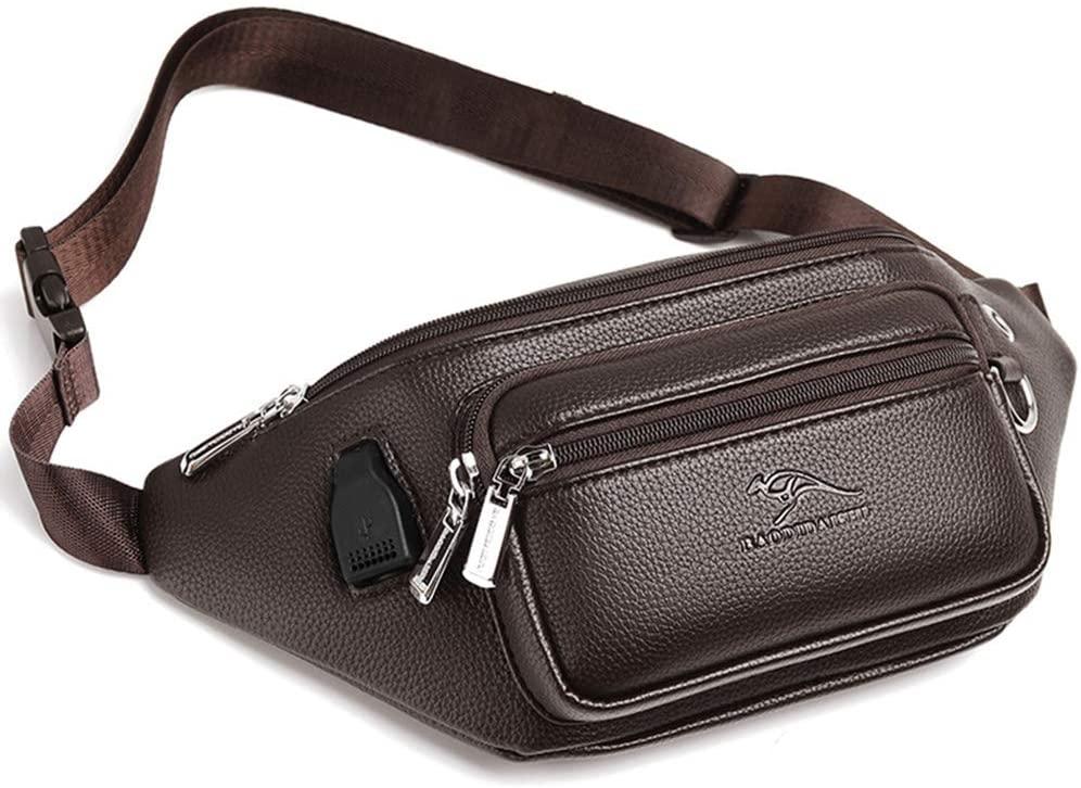Men's Belt Bag Shoulder Bag Mobile Phone Bag PU Leather Leisure High Capacity Multifunction (Small, Brown)