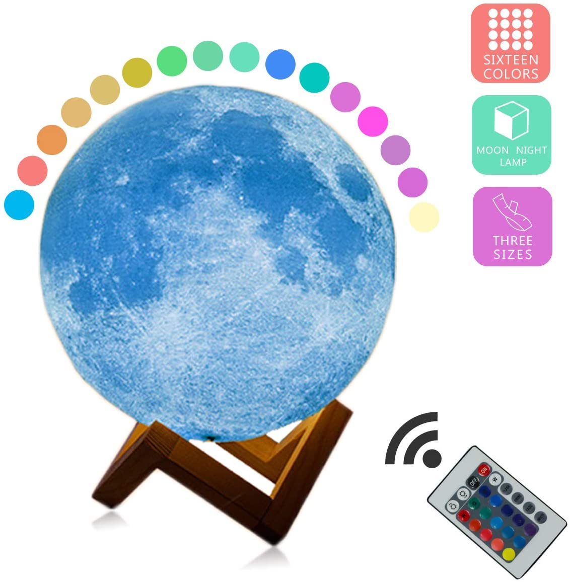 Moon Lamp Moon Light 3D Printing 2/16 Colors Night Light, Home Decorative Rechargeable Lunar Light with Wooden Stand for Baby Kids Lover Birthday Party Gifts, Remote/Touch Control 15CM