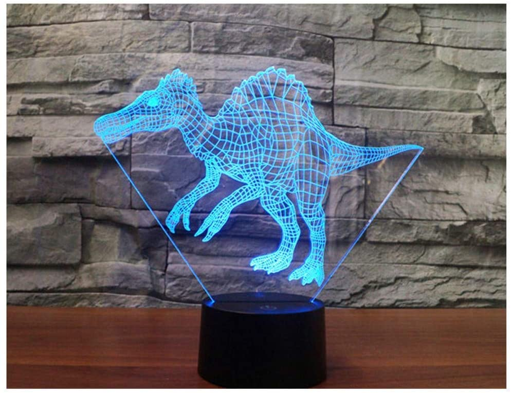 3D Led Night Light Dinosaur Spinosaurus Acanthosis Come with 7 Colors Light for Home Decoration Lamp Amazing Visualization