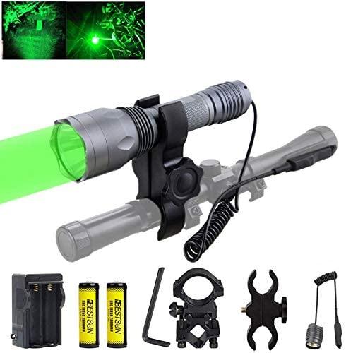 XLENTGEN 350 Yard Green Light Tactical LED Flashlight Kit Hog Coyote Varmints Predator Lights Long Range Green Hunting Lights with Pressure Switch Rechargeable Batteries for Night Hunting