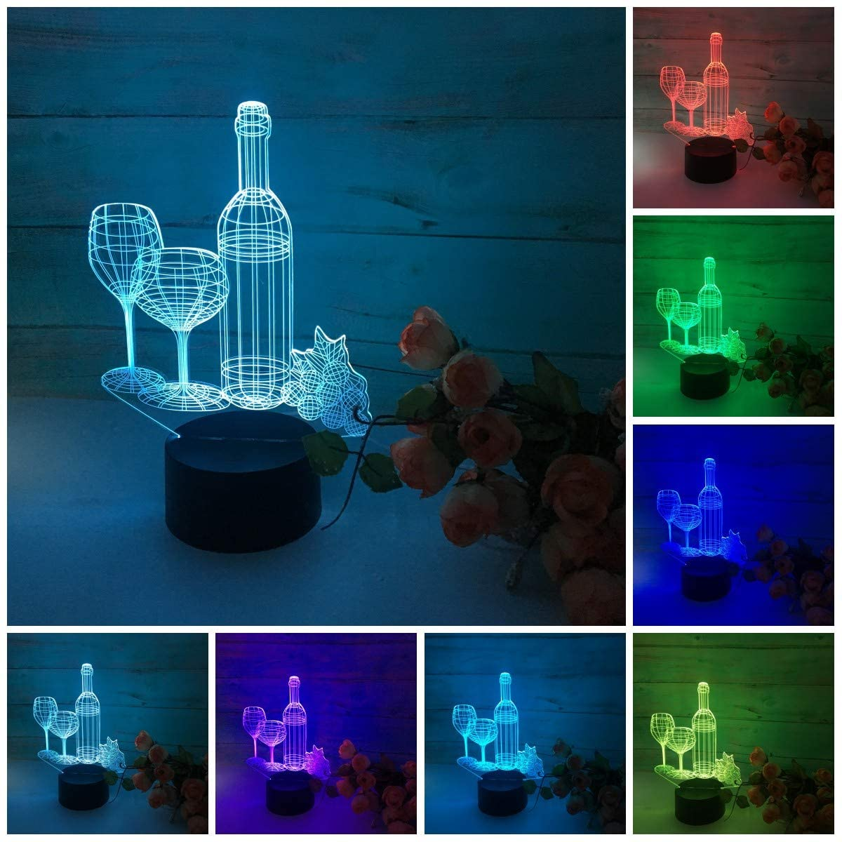 3D Night Light Wine Cup 3D Illusion Lamp Night Light for Kids 7 Color LED Touch Remote Table Desk Lamps Bedroom Decor LED Light Acrylic Lamp Home Decor Christmas Gift Idea