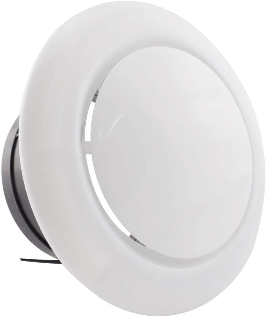 SDTC Tech 4 Inch ABS Round Soffit Air Vent Adjustable Airflow Exhaust Vent Cover Ceiling Diffuser for Bathroom Kitchen Bedroom Office Ventilation