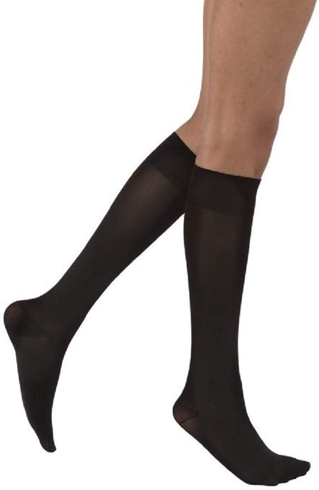 JOBST Opaque Knee High 15-20 mmHg Compression Stockings, Closed Toe, X-Large Petite, Classic Black