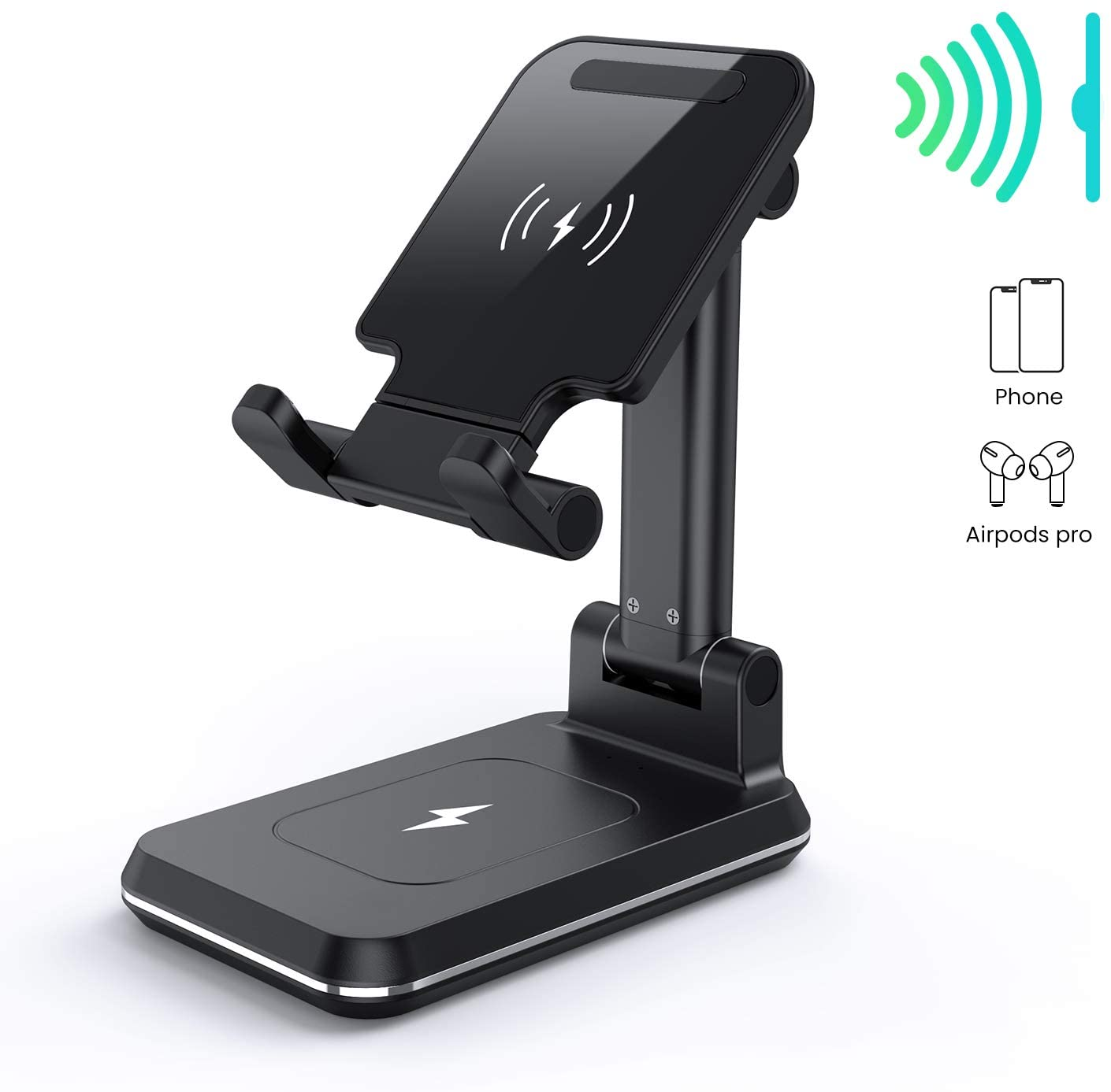 MEISO Wireless Charging Cell Phone Stand, Fully Foldable, Adjustable Phone Cradle,10W Max Qi-Enabled Wireless Charging Holder for iPhone 11/ES/MAX/XS/XR/X/8,AirPods/Pro,Samsung Galaxy S20/S10/S9/S8