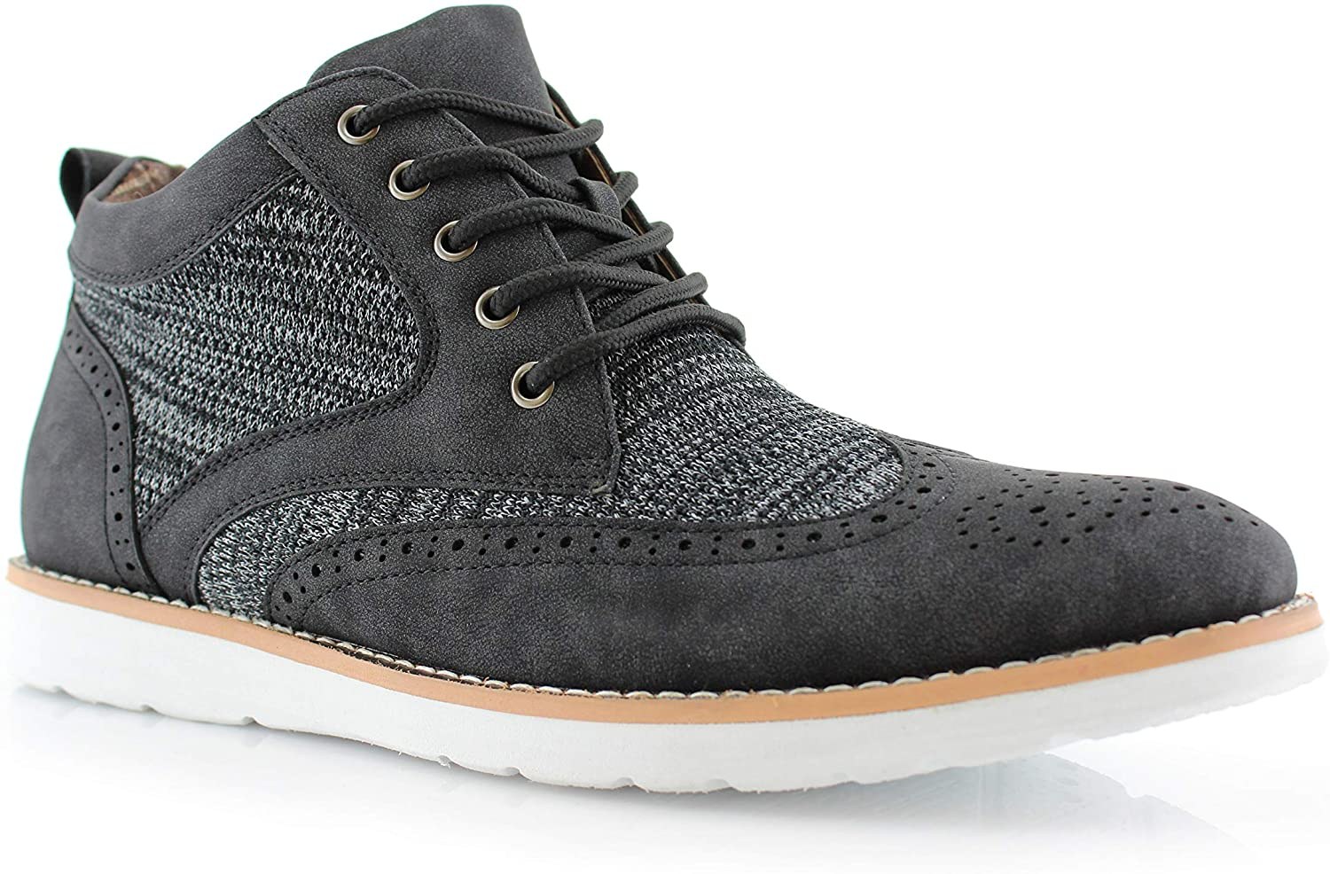 Polar Fox Mens Colbert MPX506059 Wingtip Memory Foam Mid-Top Sneaker Knitted Perforated Casual Chukka Boots