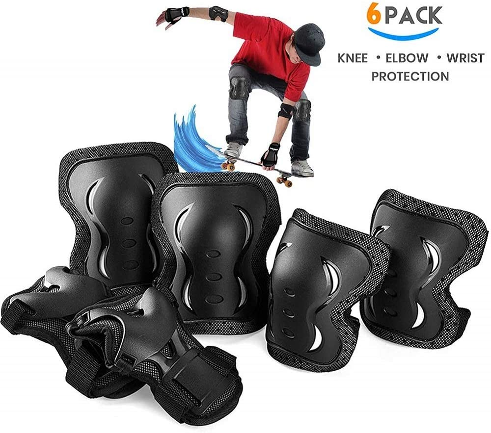 skybulls Adult Youth Child Knee Pads Elbow Pads Wrist Guards, [6Pack] Knee Elbow Pads Protective Gear Skateboard Pads Set for Skates, Skateboarding, Roller Blading, Bike, Inline Skating and Scooters