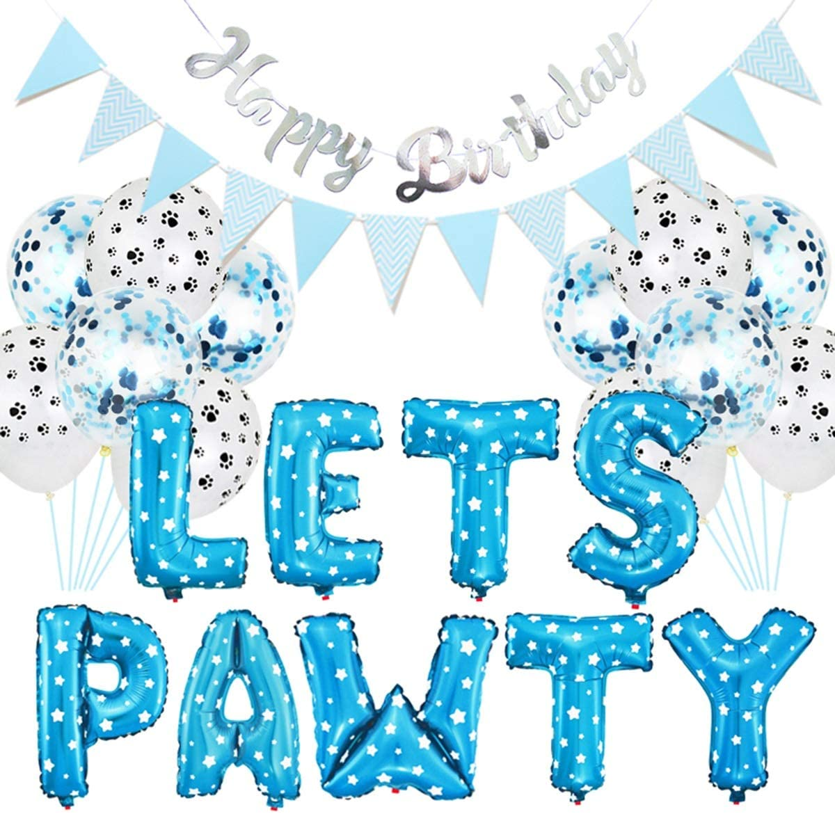 23PCS Pet Party Decoration Kit,Dog Paw Print Balloons Foil Balloons Happy Birthday Banner Lets Pawty Letters Decorations for Dog Cat Birthday Party Supplies