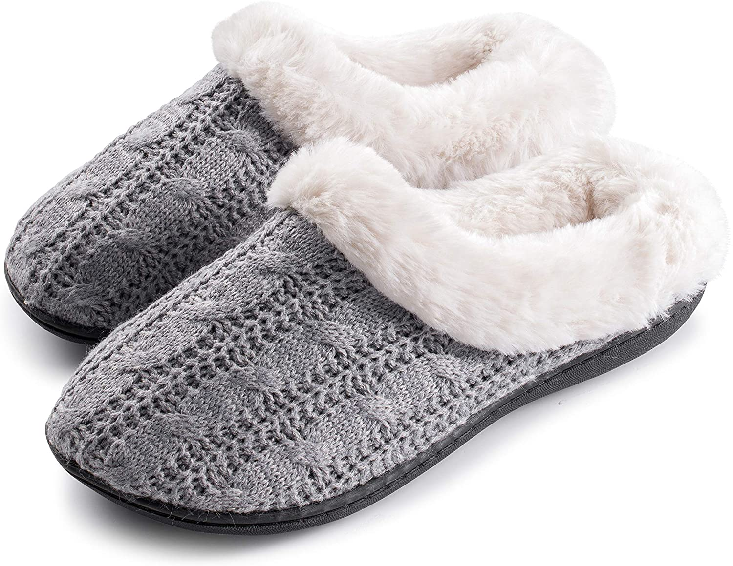 Roxoni Womens Slippers Cable Knit Super Cozy Comfort Clog