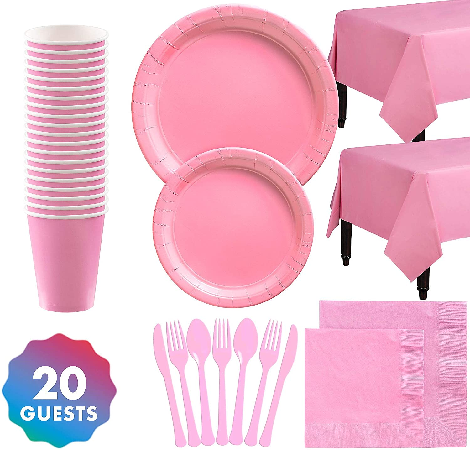 Party City Solid Pink Party Tableware Supplies for 20 Guests, with Plates, Napkins, Cups, Utensils, and Table Covers