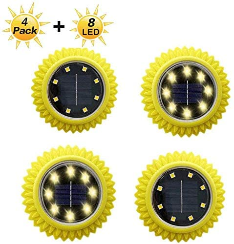 Flower Solar Ground Lights, Warm Solar Pathway Lights 8 LED Waterproof Outdoor Garden Lights Solar Lights Outdoor for Garden Yard Walkway Pool,Auto On/Off (4 Pack) (Warm - Sunflower)