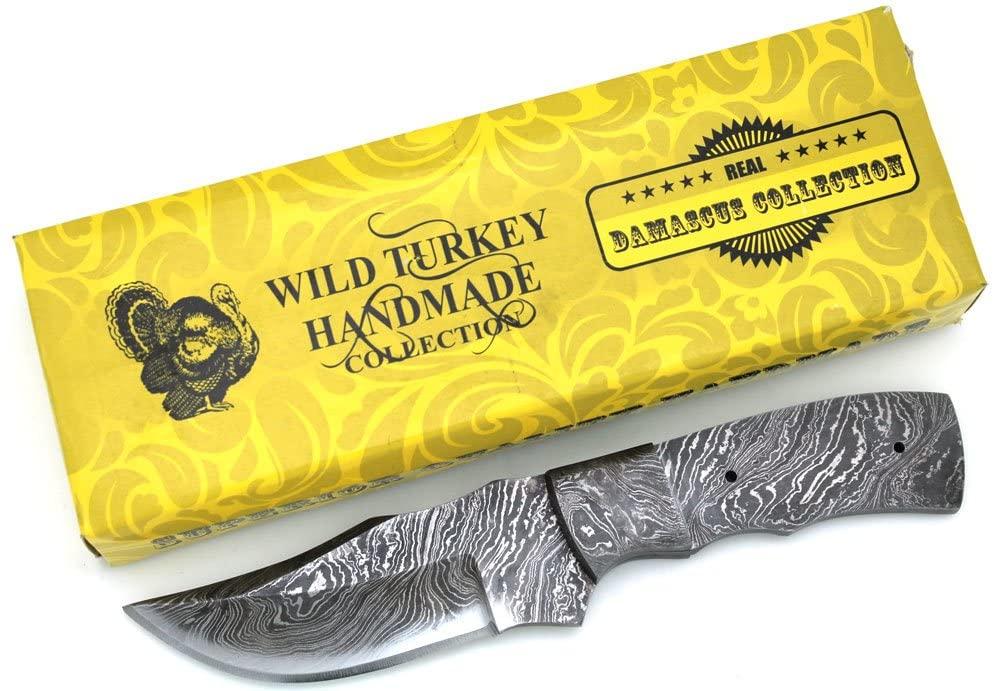 Wild Turkey Handmade Custom Full Tang Damascus Steel Blank Blade Knife