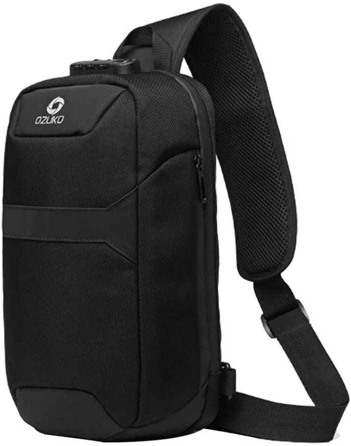 OZUKO Sling Bag Shoulder Chest Crossbody Bags Lightweight Waterproof Chest Backpack with USB Charging Port (Black)
