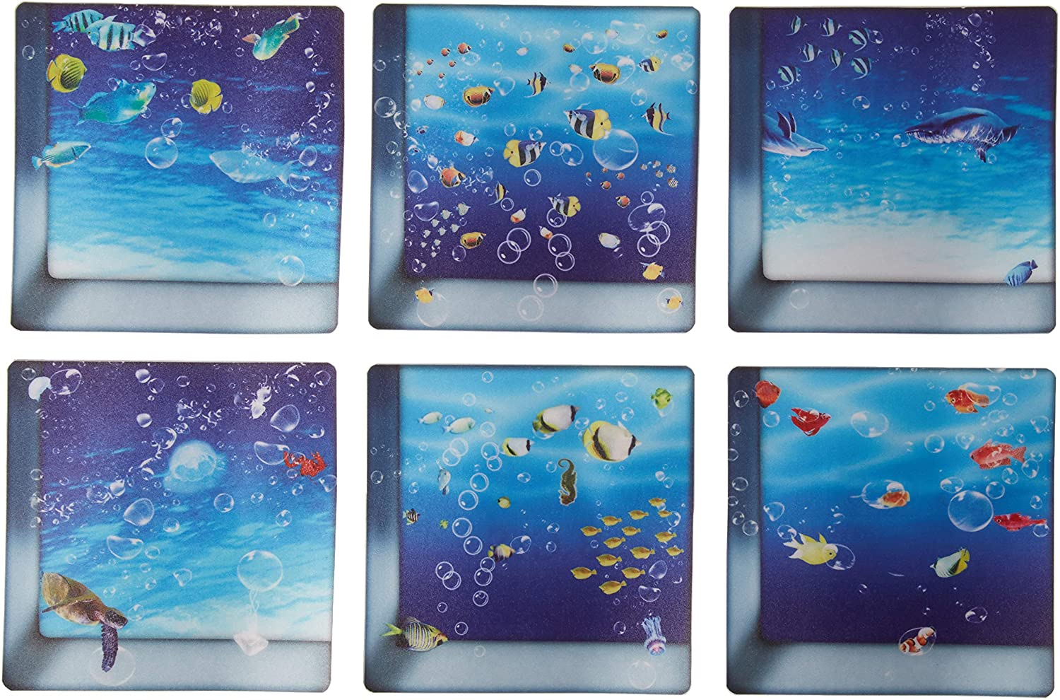 AILEGOU 3D Non-Slip Bathtub Stickers, Children's Animal Shower Stickers, Safety Treads Add Non-Slip Traction to Tubs Showers Pools Tables,Total 6 Pieces(Fishes-03)