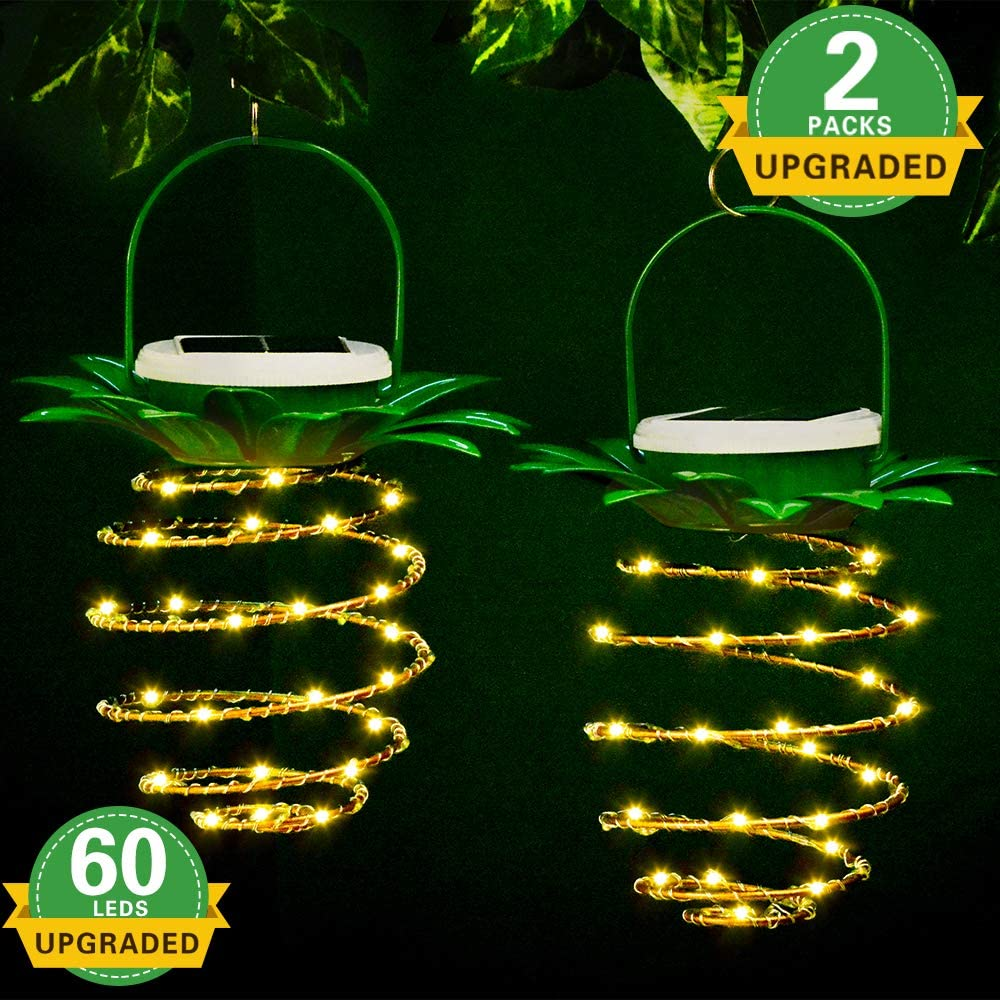 Solar Lanterns Outdoor Hanging, 2Pack 60LED Waterproof Pineapple Solar Outdoor Landscape Decorative Lights for Garden, Patio, Porch, Path, Home Decor with Stainless Steel Clip(Warm White).