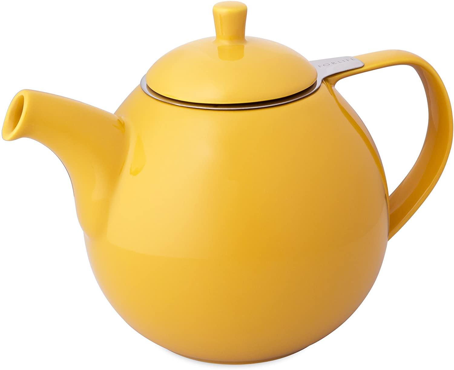 FORLIFE Curve Teapot with Infuser, 45-Ounce, Mandarin