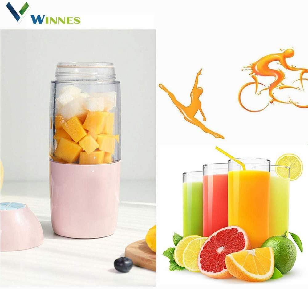 Portable Blender,Winnes Fruit Smoothie Blender baby food blender Personal blender,Juicer Cup,Mixer Juice,Detachable Cup, Best single serve blender Gifts For Women (Pink)