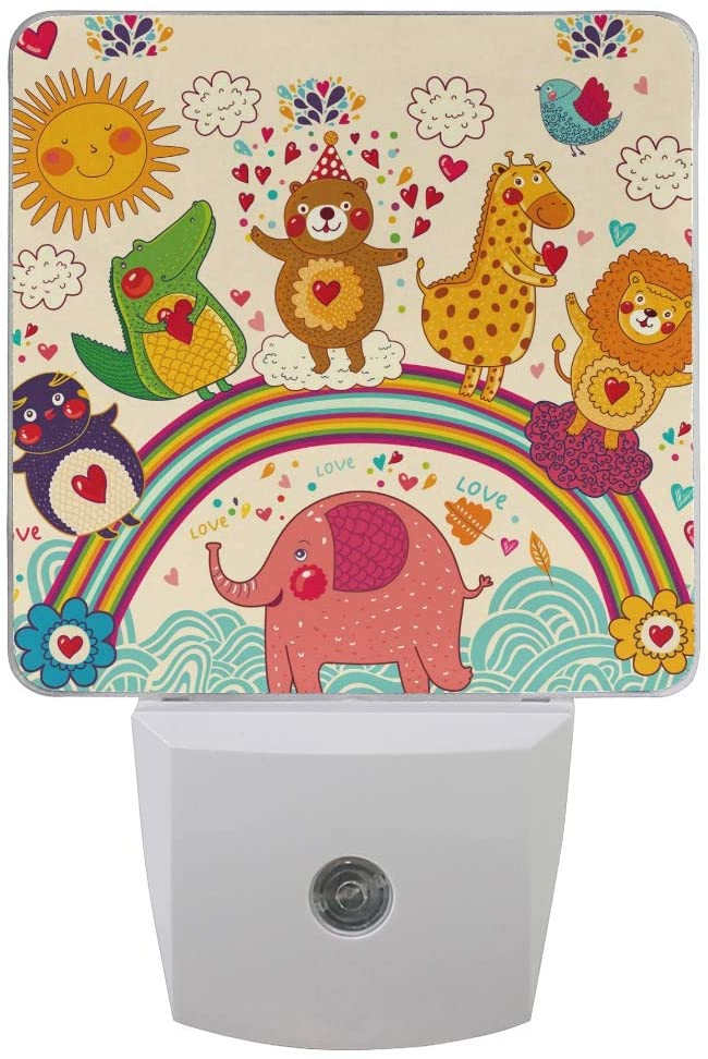 OREZI Plug in LED Night Light with Dusk to Dawn Sensor,Elephant Lion Penguin Bear Deer Dinosaur Warm White Night Lighting for Baby Room,Bedroom,Hallway,Kitchen,Bathroom,Stairs